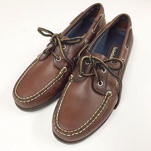 Timberland Brown Leather 2 Eye Deck Boat Shoes